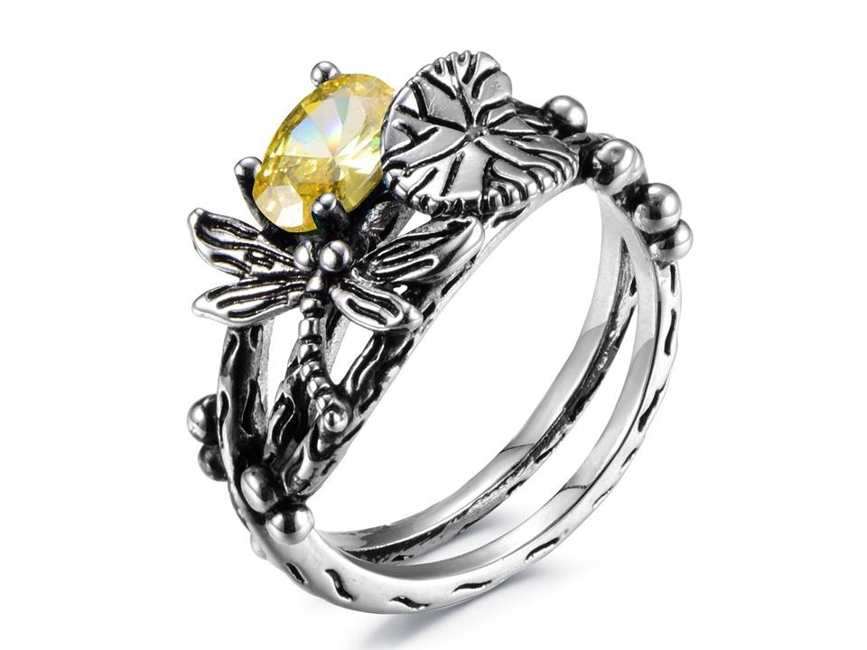 Dragonfly Ring - Citrine - Size 6 - Lunga Vita Designs