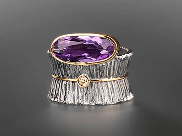 AMETHYST CRYSTAL WIDE FLUTED BAND RING