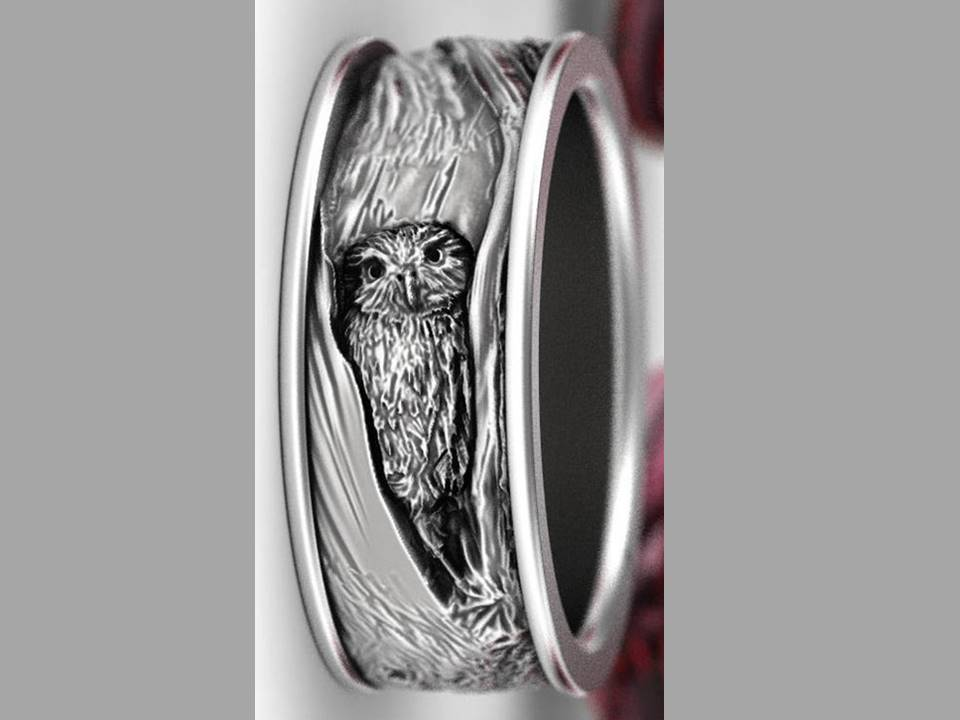 Hidden Owl Silver Band Ring - Size 8 - Lunga Vita Designs