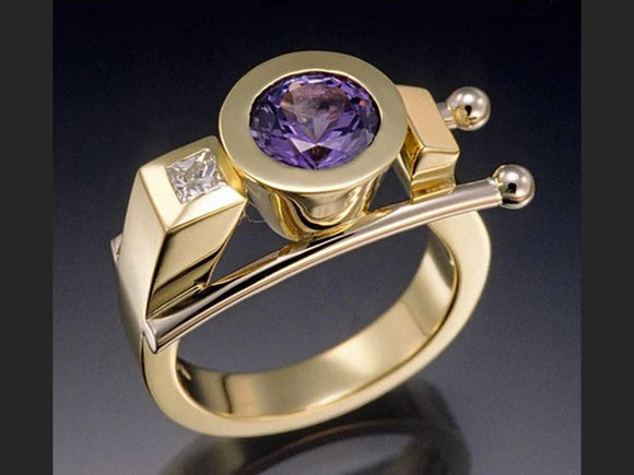 Architectural Amethyst Ring |Size 8 - Lunga Vita Designs