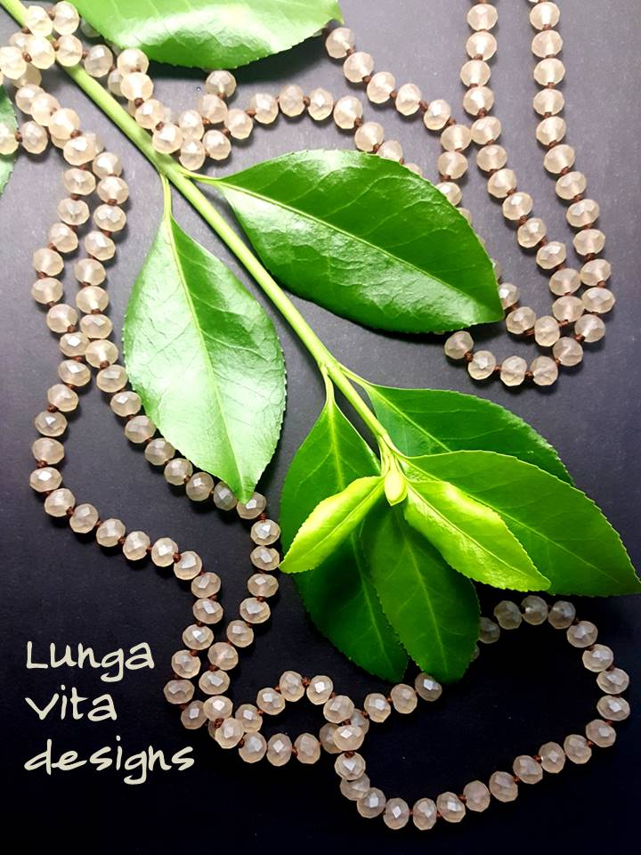 Long Knotted Taupe Glass Beaded Necklace - Lunga Vita Designs