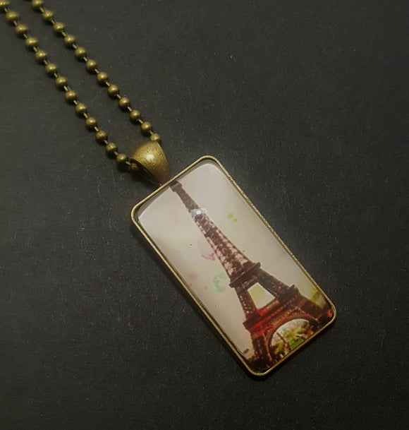 Eiffel Tower Bronze Dog Tag Style Necklace - Lunga Vita Designs
