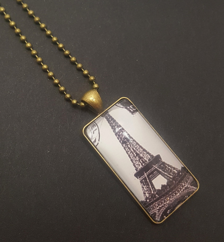 Eiffel Tower Bronze Dog Tag Style Necklace | Black & White - Lunga Vita Designs