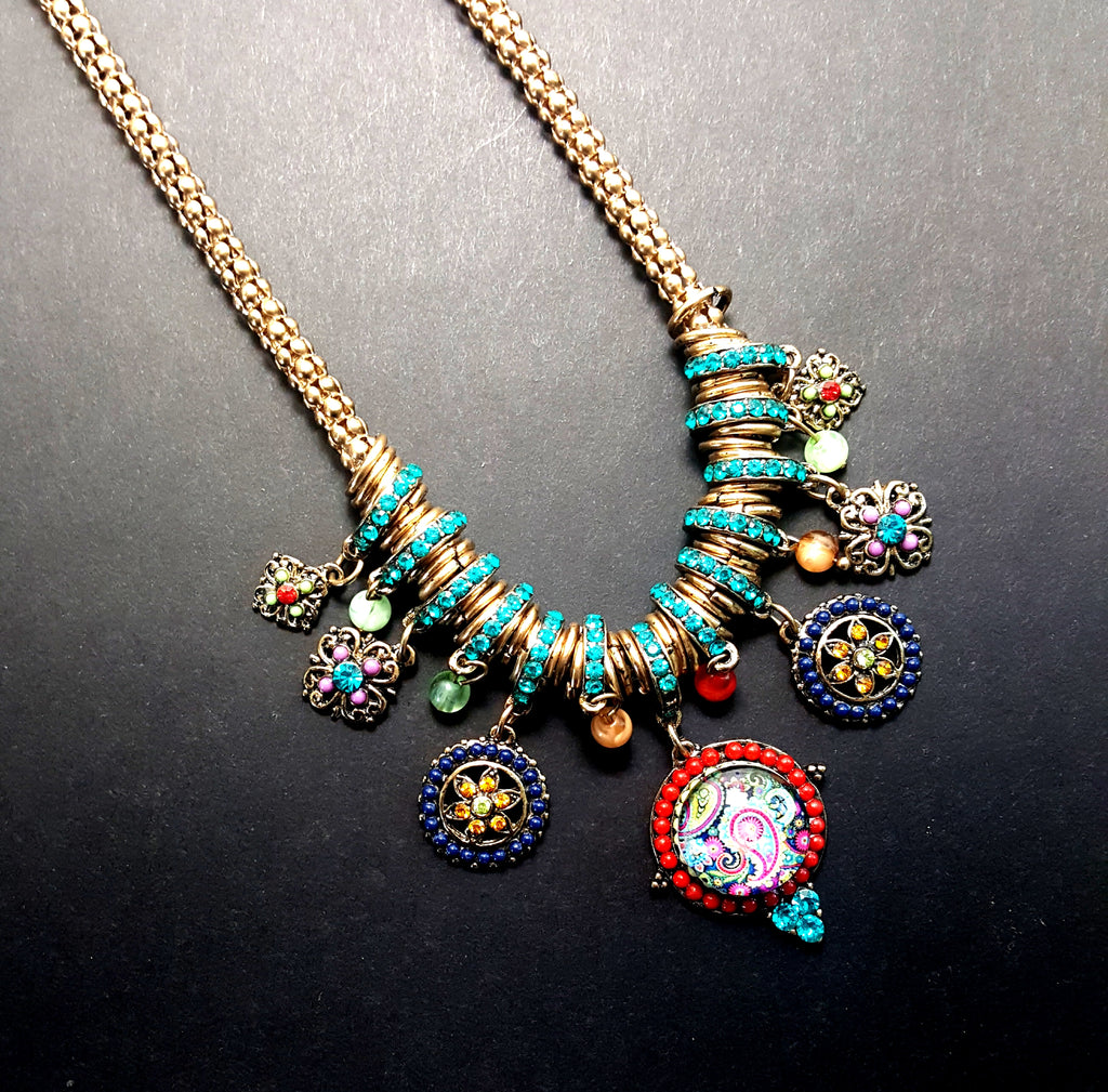 Bohemian Necklace in All of Its Splendor | Multicolored Crystals - Lunga Vita Designs