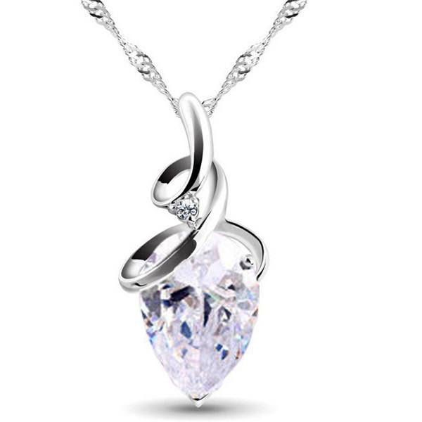 Romantic Clear Crystal Teardrop and Cubic Zirconia Pendant Necklace - Lunga Vita Designs