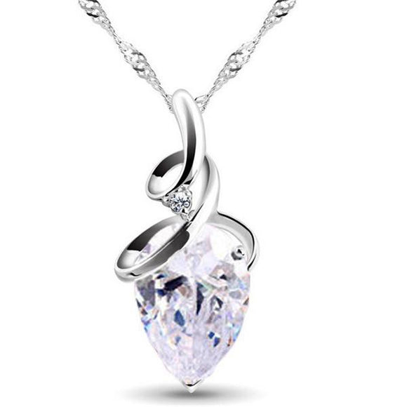 ROMANTIC CLEAR CRYSTAL TEARDROP AND CUBIC ZIRCONIA NECKLACE