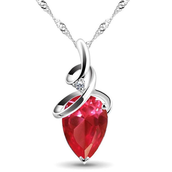 ROMANTIC RED CRYSTAL TEARDROP AND CUBIC ZIRCONIA NECKLACE