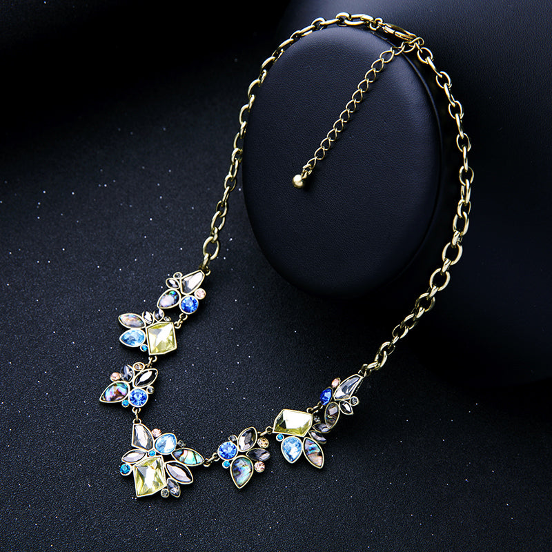 Vintage Yellow and Blue Crystal Statement Necklace with Abalone Accents - Lunga Vita Designs