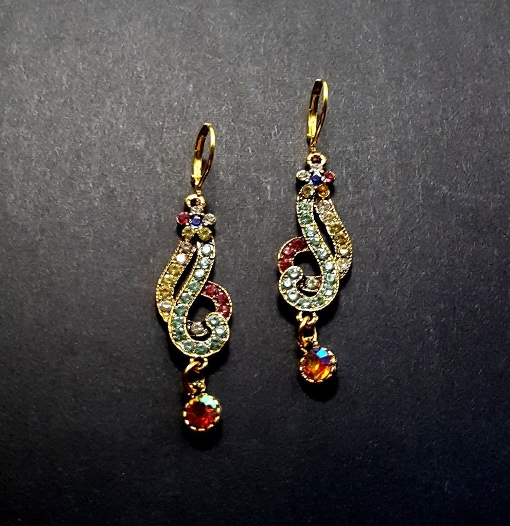 Retro Rhinestone Multicolored Dangle Earrings - Lunga Vita Designs