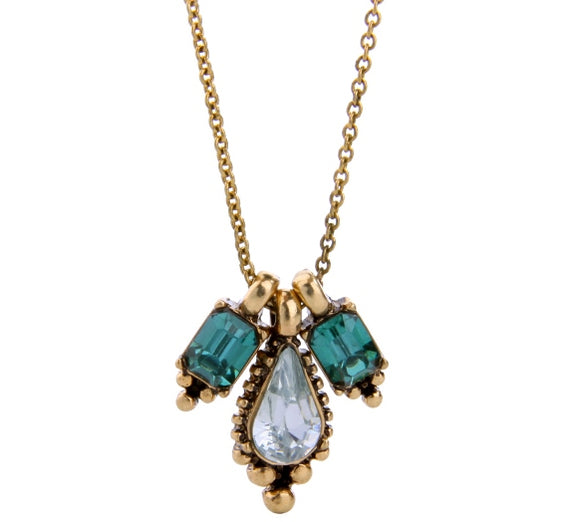 Aqua and Pale Blue Teardrop Vintage Necklace
