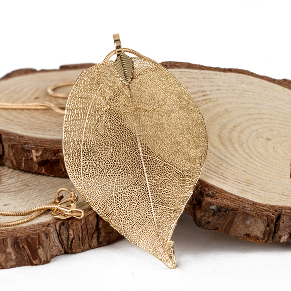 NATURAL LEAF NECKLACE | GOLD