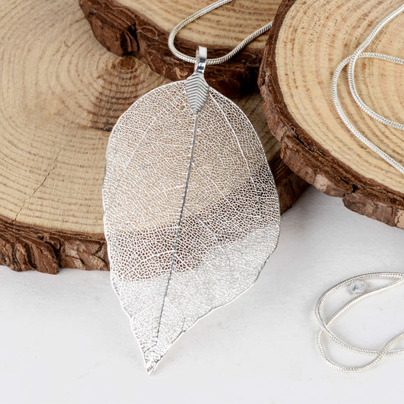 NATURAL LEAF NECKLACE | SILVER