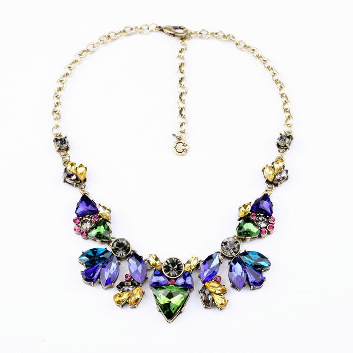 Vintage Blue and Golden Yellow Crystal Statement Necklace - Lunga Vita Designs