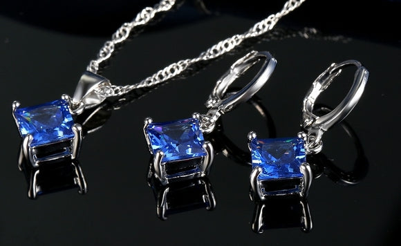 CLASSIC CRYSTAL PENDANT NECKLACE SET | MIDNIGHT BLUE