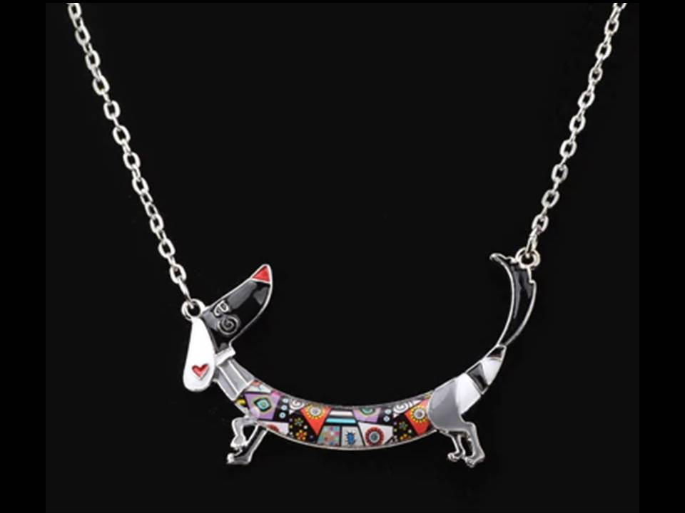 Happy Enamel Curved Dachshund Necklace - Lunga Vita Designs