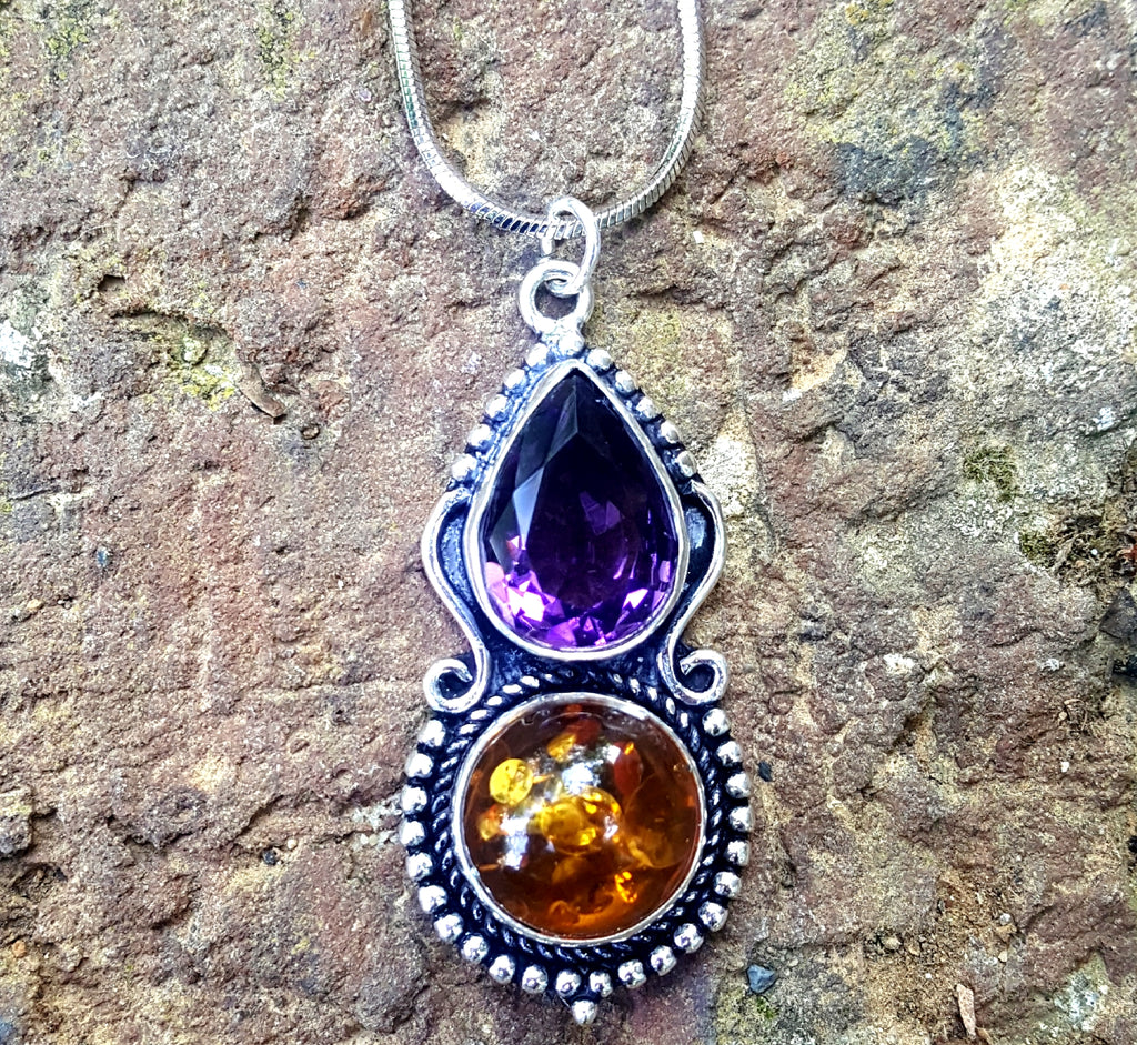 Amber and Amethyst Pendant Necklace - Lunga Vita Designs
