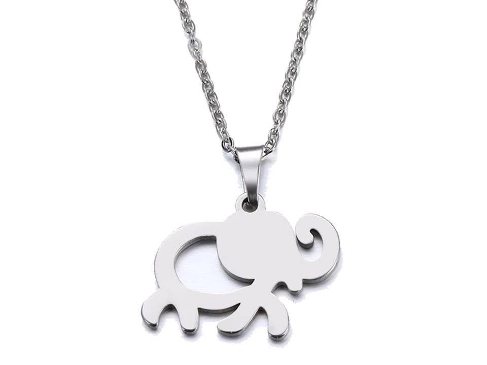 Lucky Elephant Stainless Steel Pendant Necklace - Lunga Vita Designs