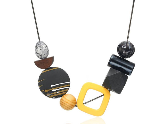 COLOR MIX GEOMETRIC NECKLACE | YELLOW