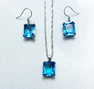 AQUA EMERALD CUT NECKLACE SET