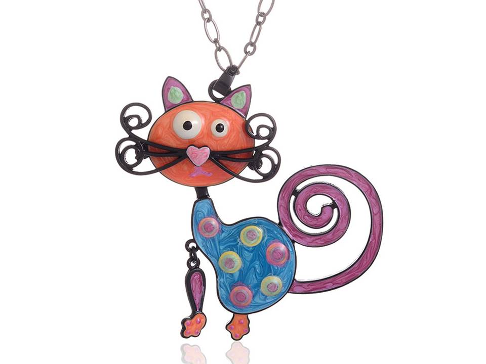 Colorful Enamel Cat Necklace with Mustache and Curly-Q Tail - Lunga Vita Designs
