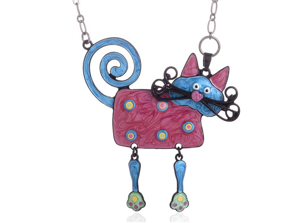 Pink Enamel Cat Necklace with Mustache and Dangling Legs - Lunga Vita Designs