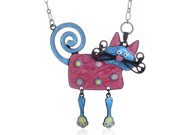 COLORFUL ENAMEL CAT NECKLACE