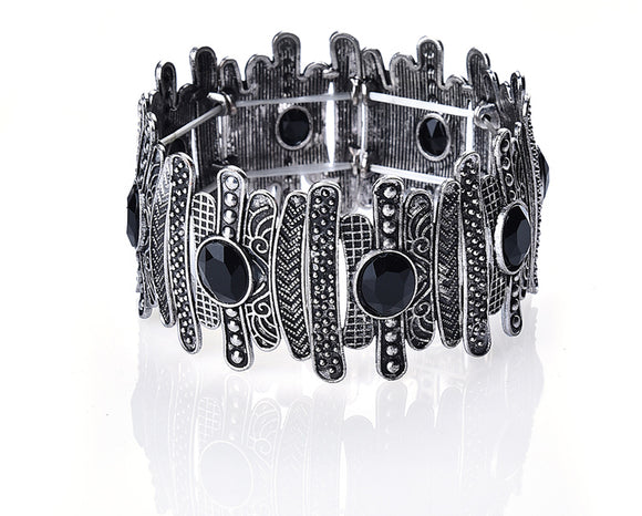 MULTI PATTERNED SILVER TONE STRETCH BRACELET