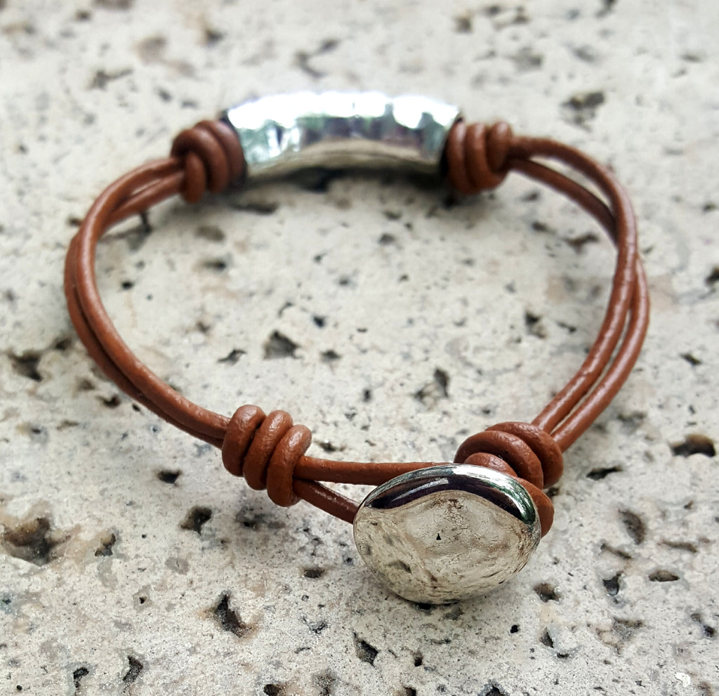 Leather Cord and Silver Tube Bracelet with Button Closure | Brown - Lunga Vita Designs