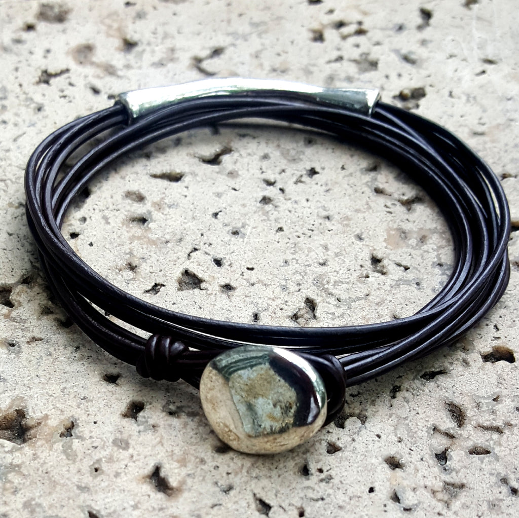 Simple Four Strand Leather Accent Bracelet | Black - Lunga Vita Designs