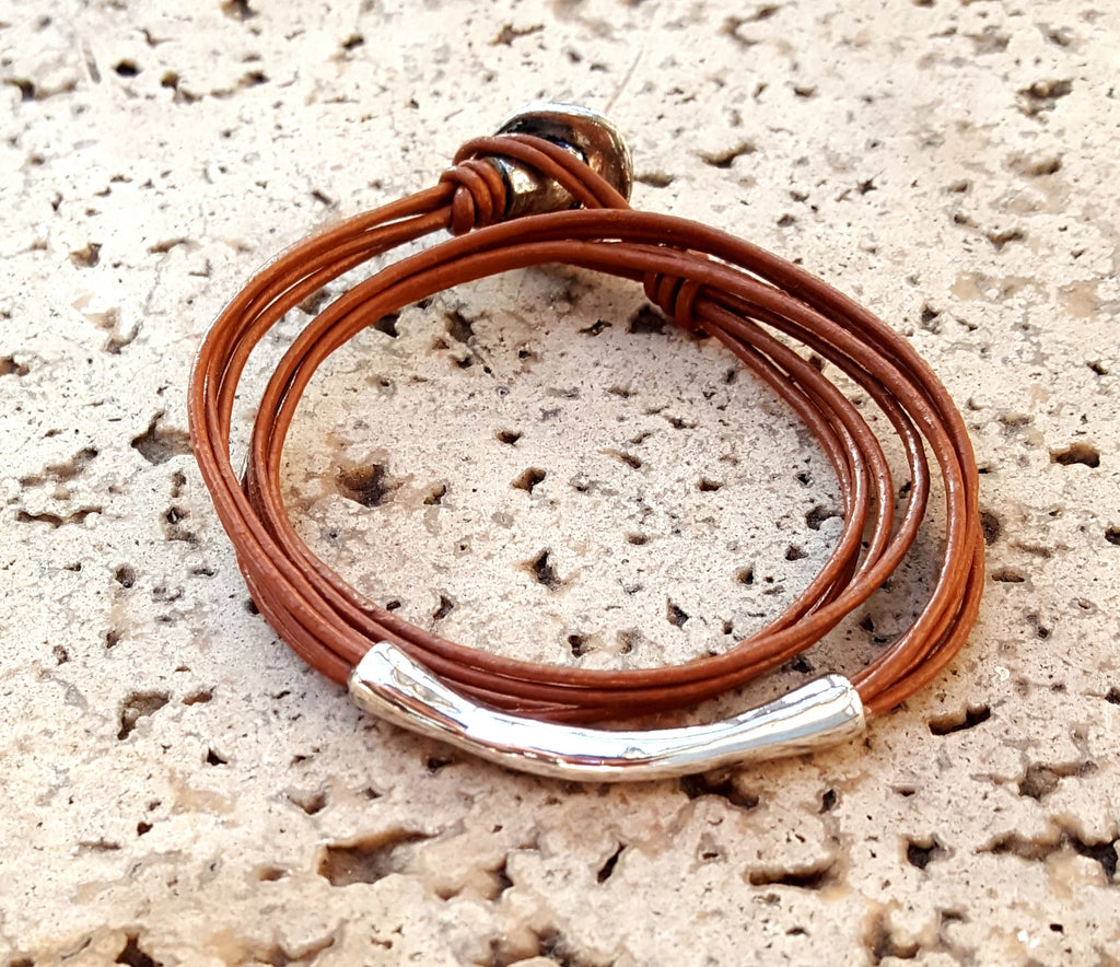 Simple Four Strand Leather Accent Bracelet | Light Brown - Lunga Vita Designs