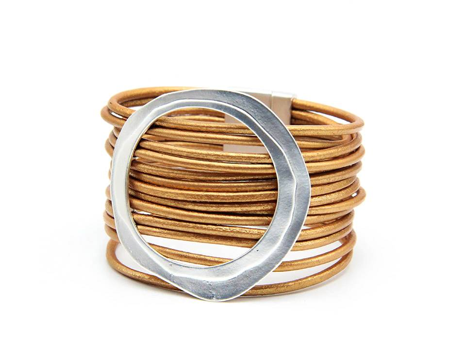 Multi Strand Leather Cuff Bracelet | Natural - Lunga Vita Designs