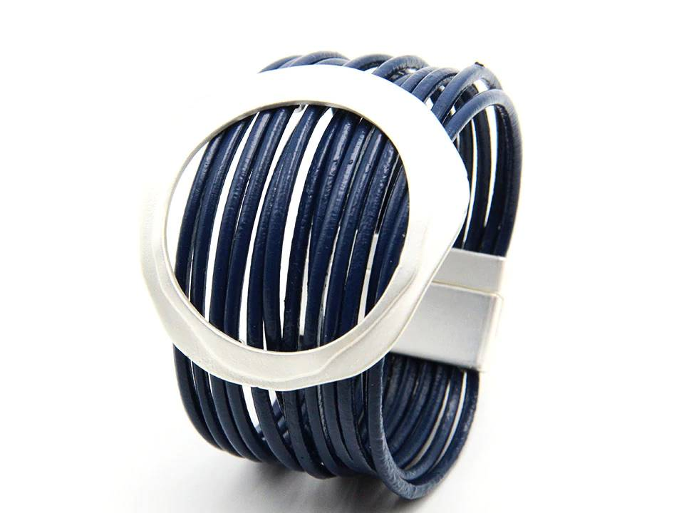 Multi Strand Leather Cuff Bracelet | Navy - Lunga Vita Designs