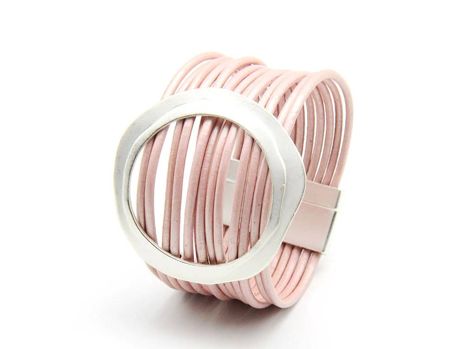 Multi Strand Leather Cuff Bracelet | Pale Pink - Lunga Vita Designs