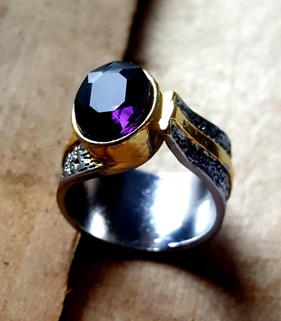 Amethyst Hammered Band Ring | Size 6 - Lunga Vita Designs