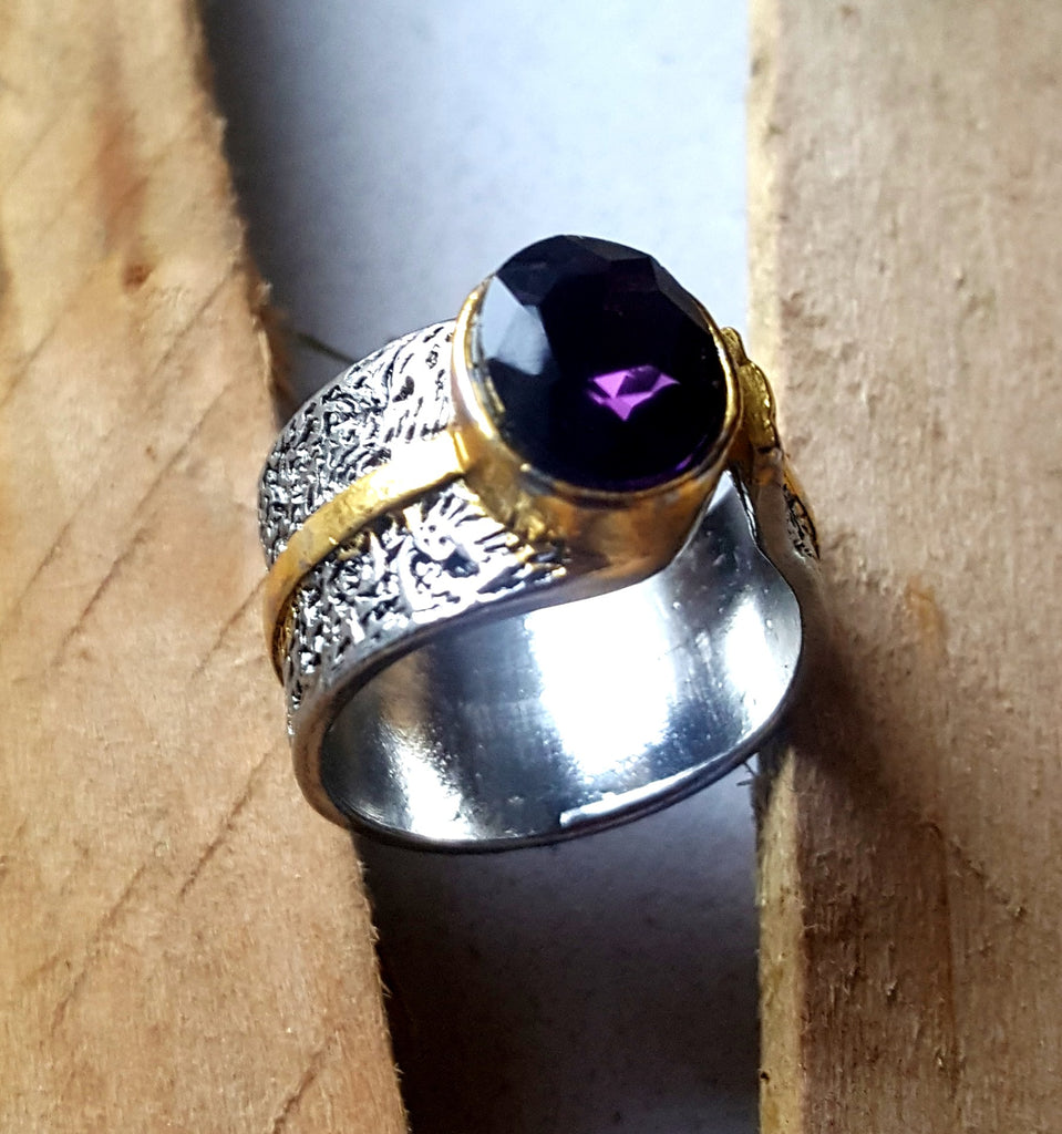 Amethyst Hammered Band Ring | Size 9 - Lunga Vita Designs