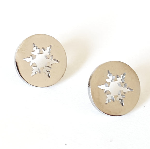 SNOWFLAKE CUT-OUT POST EARRINGS
