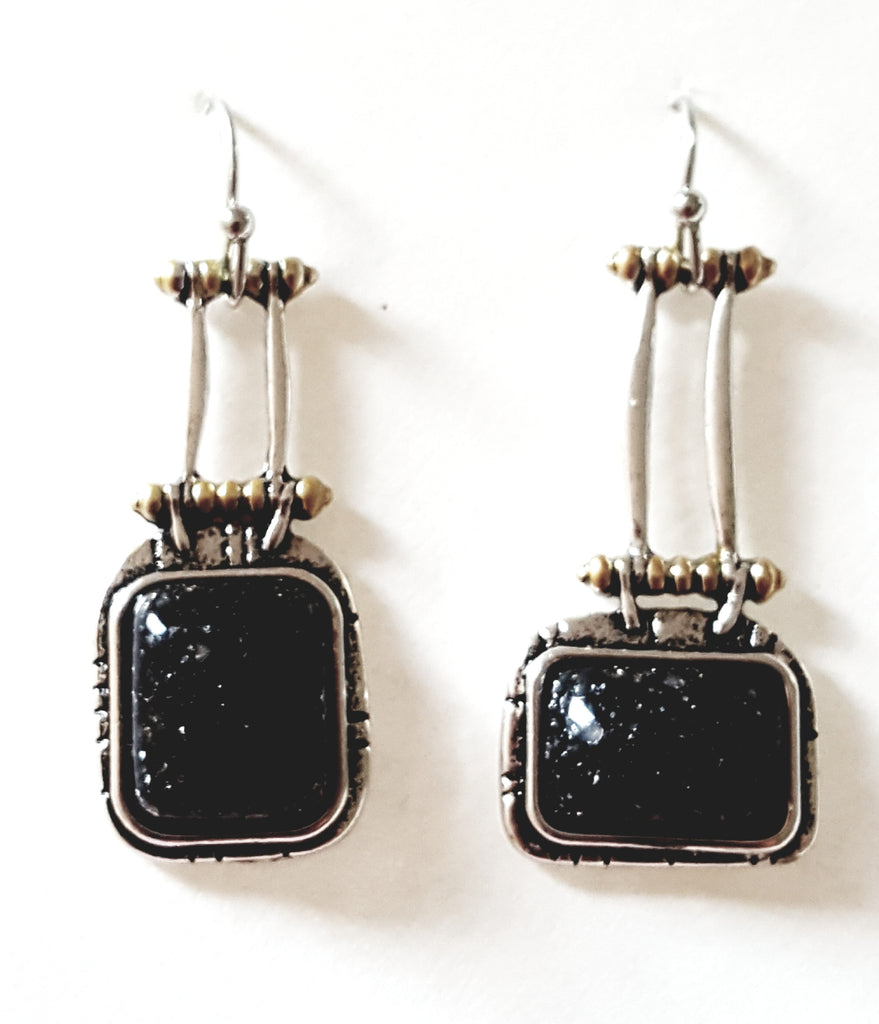 Asymmetrical Black Dangle Earrings - Lunga Vita Designs