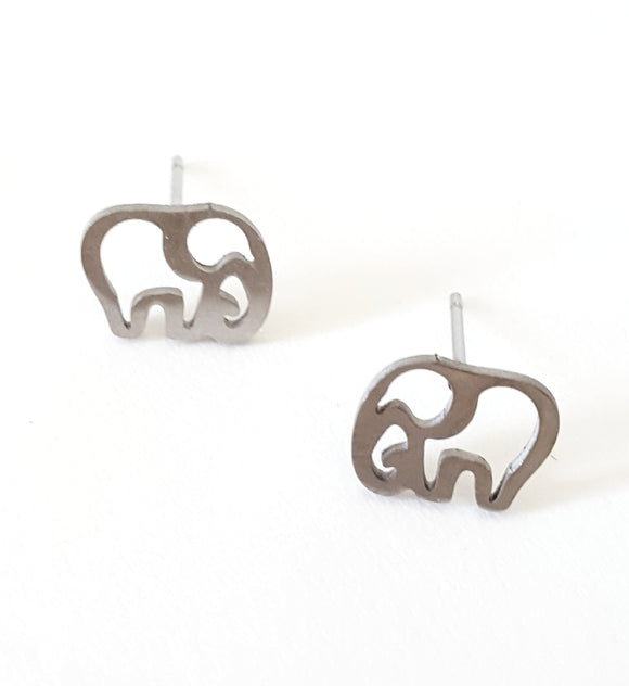 TINY CUT-OUT ELEPHANT POST EARRINGS