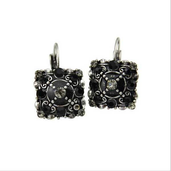 Vintage Style Black Crystal Square Lever Back Earrings - Lunga Vita Designs