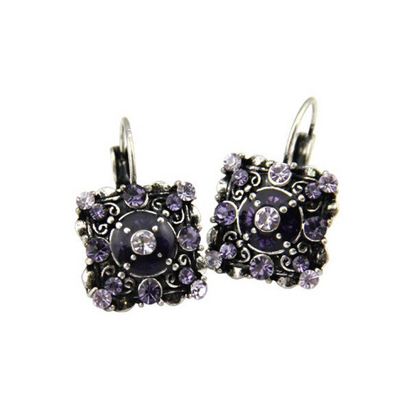 Vintage Style Violet Crystal Square Lever Back Earrings - Lunga Vita Designs