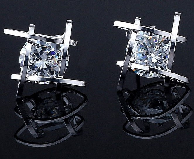 Cage Post Earrings with Clear Cubic Zirconia Mounted inside Square | Silver - Lunga Vita Designs