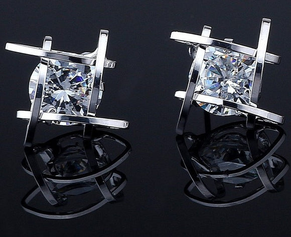 CUBIC ZIRCONIA SILVER CAGE POST EARRINGS