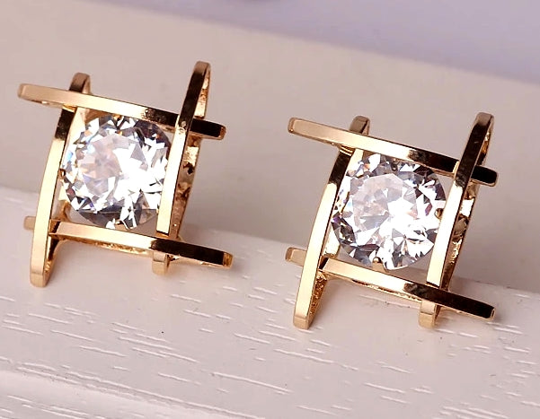 Cage Post Earrings with Clear Cubic Zirconia Mounted Inside Square | Gold - Lunga Vita Designs