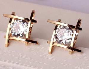 CUBIC ZIRCONIA GOLD CAGE POST EARRINGS