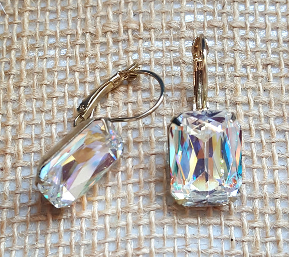 FACETED RECTANGLE CRYSTAL LEVERBACK EARRINGS - AURORA BOREALIS
