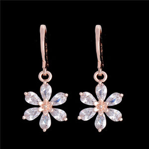 ROSE GOLD FLOWER DANGLE EARRINGS - CLEAR