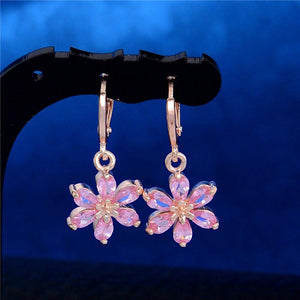 ROSE GOLD FLOWER DANGLE EARRINGS - PINK