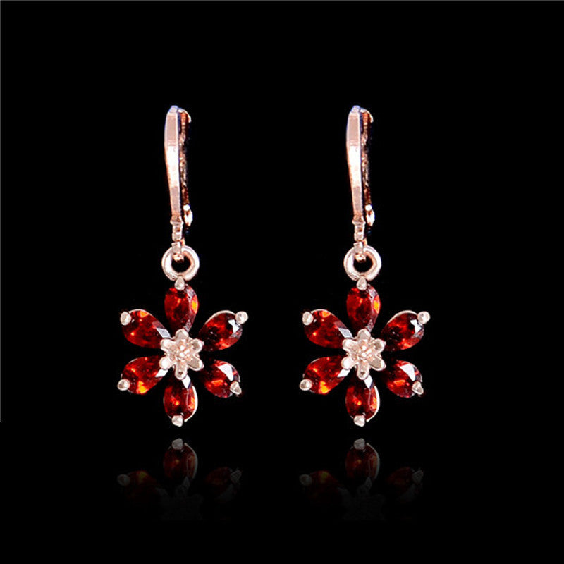 Rose Gold Daisy Flower Dangle Lever Back Earrings | Red - Lunga Vita Designs