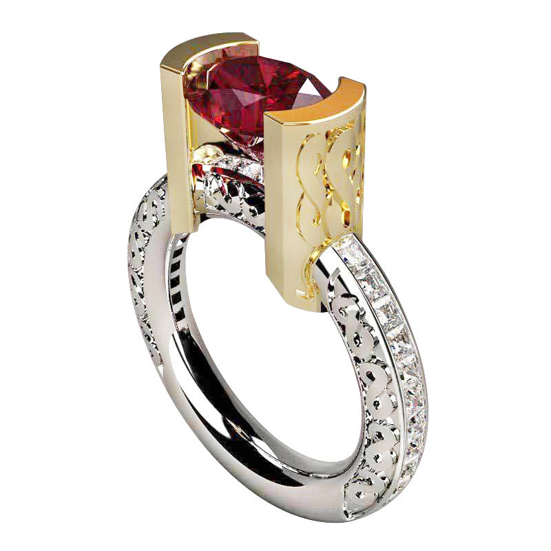 Architecural Two Tone Ring | Red - Size 9 - Lunga Vita Designs