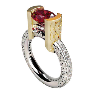 ARCHITECTURAL RING | TWO TONE RED - SIZE 7